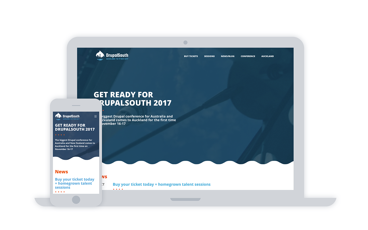 Screenshots of DrupalSouth 2017 website