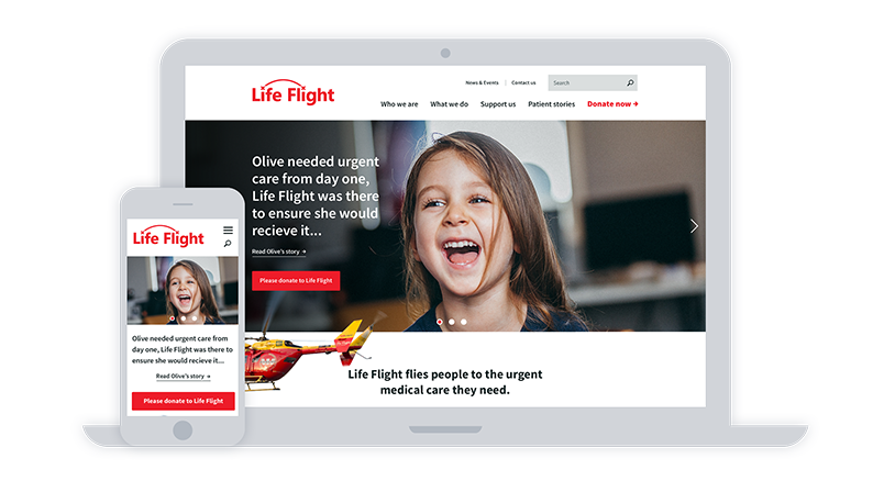 Screenshots of Life Flight website