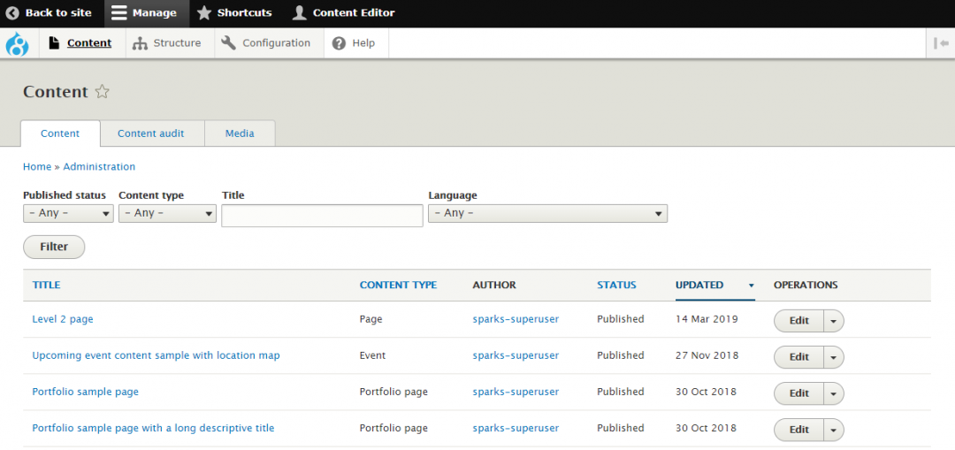 Screenshot of AdminUI backend - the Content screen