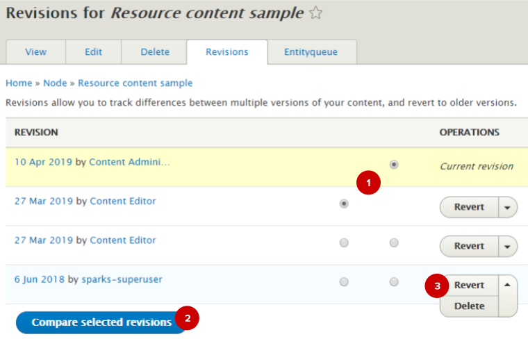 Screenshot of revisions tab in the AdminUI backend (with numbered highlights)