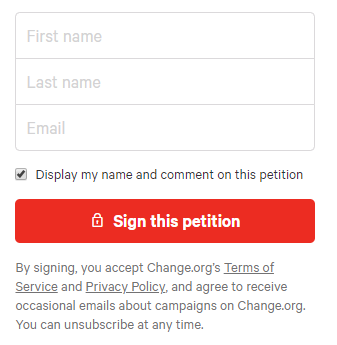 Screenshot of opt-out signup on a petition form