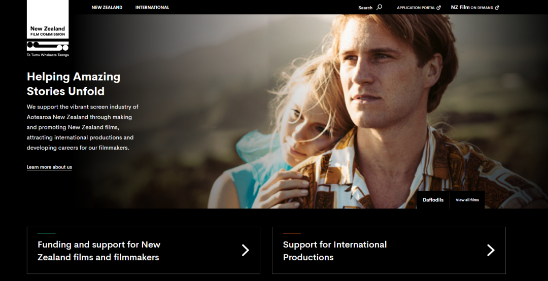 Screenshot of nzfilm.co.nz homepage