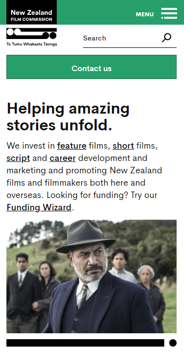 Screenshot of nzfilm.co.nz mobile size