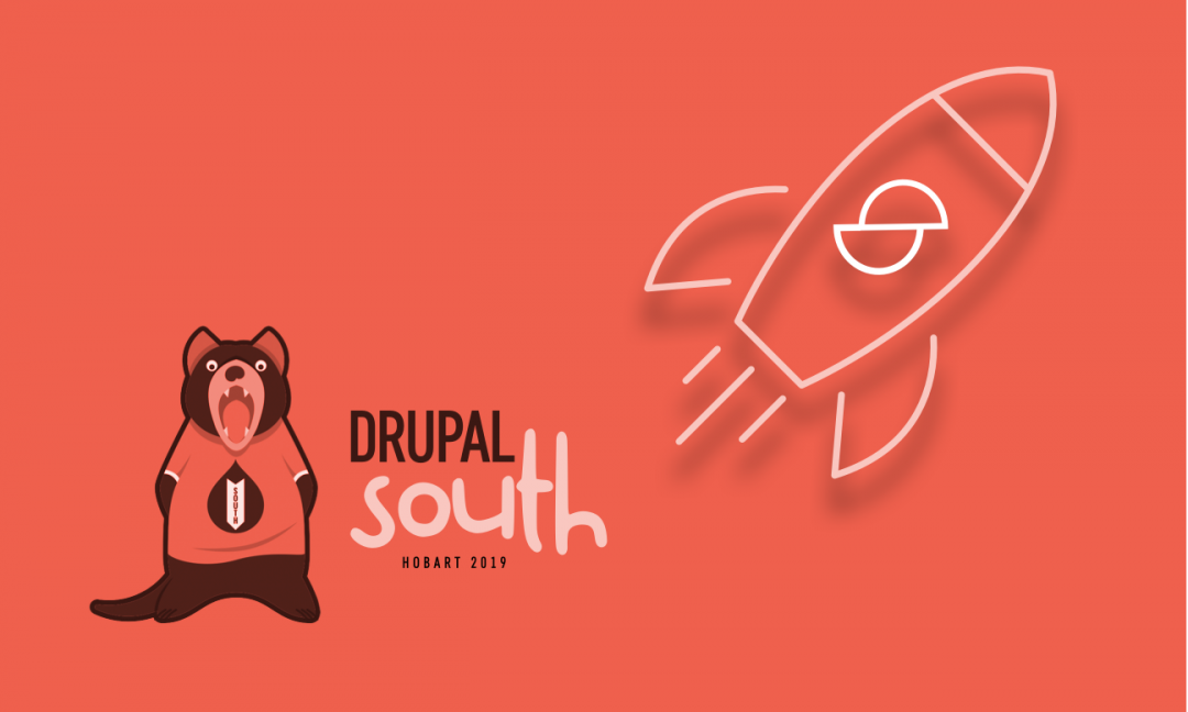 Drupal south logo next to a Sector rocket.
