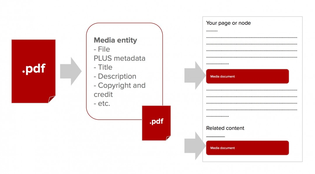 Diagram of a file insert or embed using media.