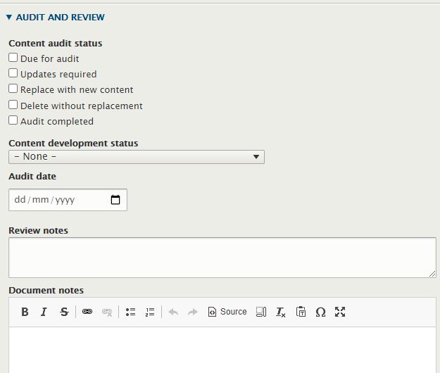 Screenshot of audit and review settings